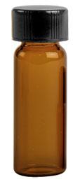 1 dram Amber Glass Vials w/ Black Phenolic PV Lined Caps & Orifice Reducers