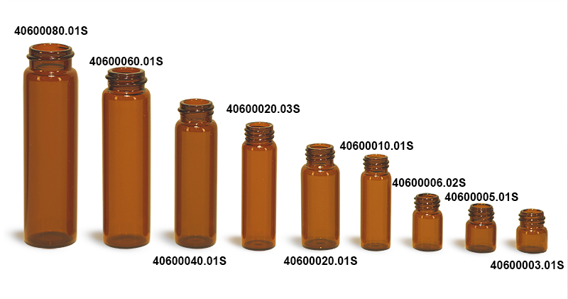 Amber Glass Vials (Bulk) Caps Not Included