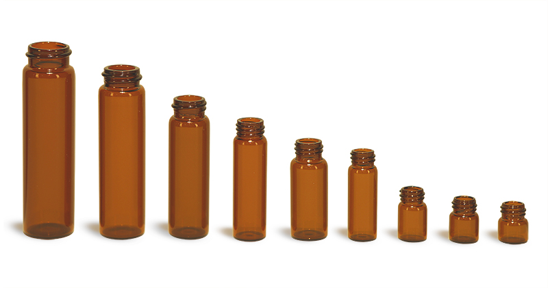 Amber Glass Vials (Bulk), Caps NOT Included