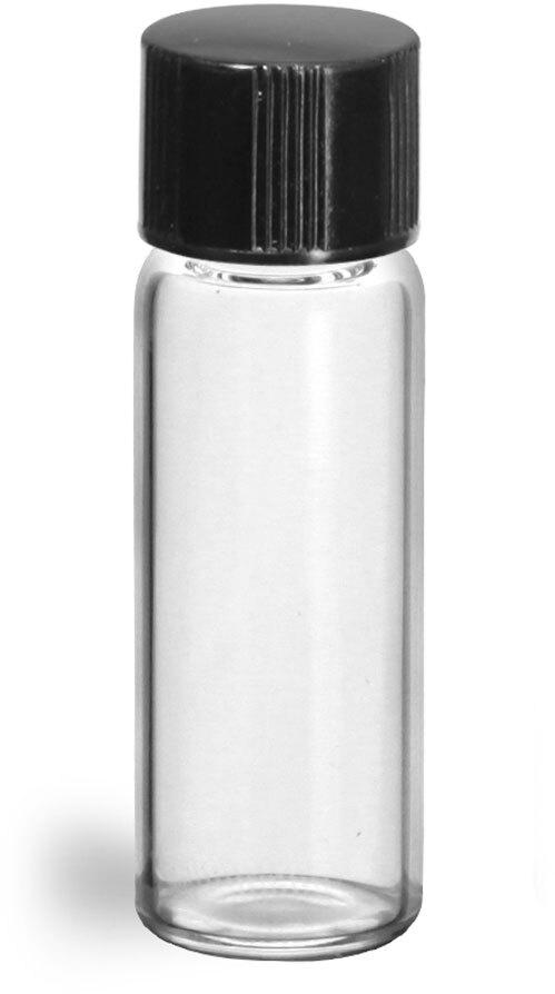 Clear Glass Vials w/ Black Phenolic PV Lined Caps