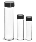 Glass Vials, Clear Glass Vials w/ Black Polypro Foil Lined Caps