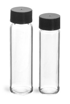 Glass Vials, Clear Glass Vials w/ Black Polypro Foil Lined Caps