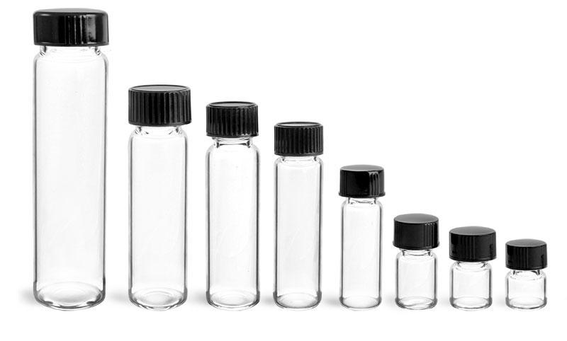 Glass Vials, Clear Glass Vials w/ Black Phenolic Cone Lined Caps
