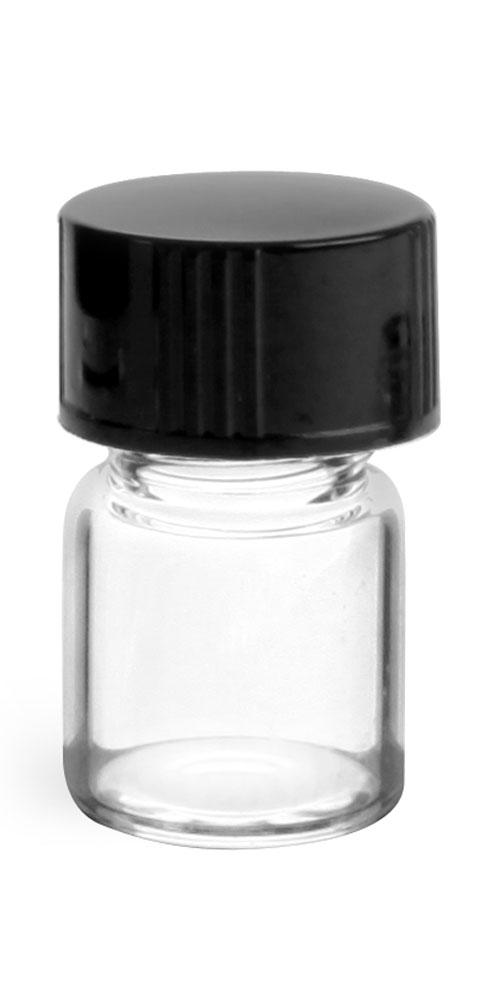 1/2 dram Clear Glass Vials w/ Black Phenolic Cone Lined Caps