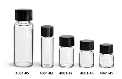 Glass Vials, Clear Glass Vials w/ Black Phenolic PV Lined Caps