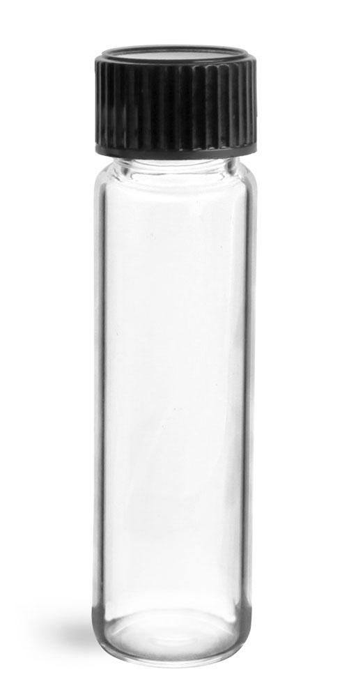 2 dram Clear Glass Vials w/ Black Phenolic Cone Lined Caps