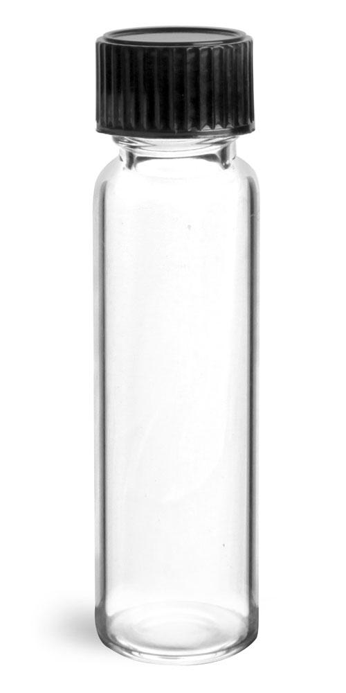 3 dram Clear Glass Vials w/ Black Phenolic Cone Lined Caps