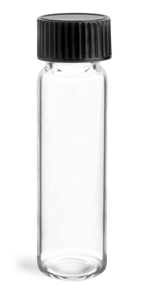 4 dram Clear Glass Vials w/ Black Phenolic Cone Lined Caps