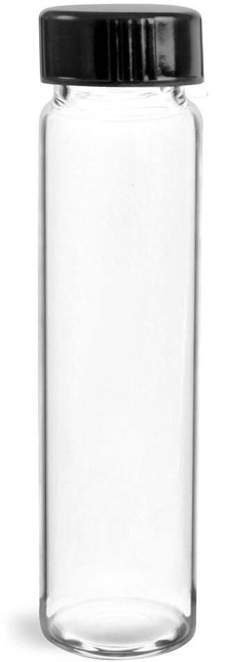 Clear Glass Vials w/ Black Phenolic Cone Lined Caps
