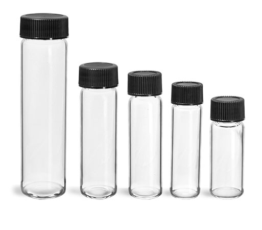 Glass Vials, Clear Glass Vials w/ Black Ribbed PE Lined Caps