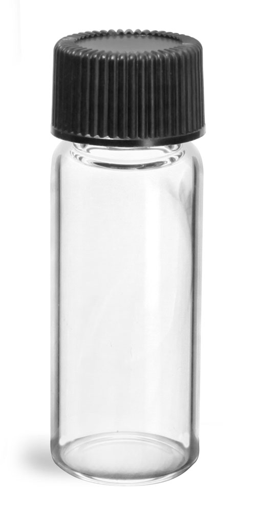2 dram Glass Vials, Clear Glass Vials w/ Black Ribbed PE Lined Caps