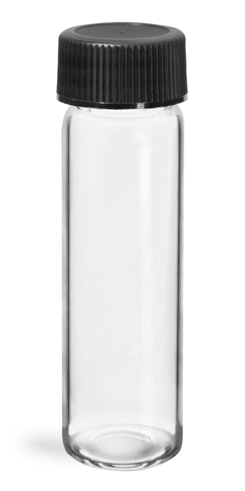 4 dram Glass Vials, Clear Glass Vials w/ Black Ribbed PE Lined Caps