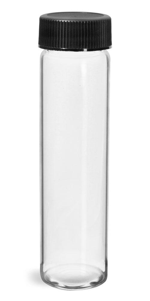 8 dram Glass Vials, Clear Glass Vials w/ Black Ribbed PE Lined Caps