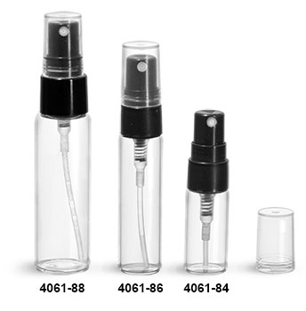 Glass Vials, Clear Glass Vials w/ Black Smooth Sprayers & Overcaps