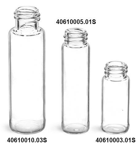Glass Vials, Clear Glass Vials (Bulk), Caps NOT Included