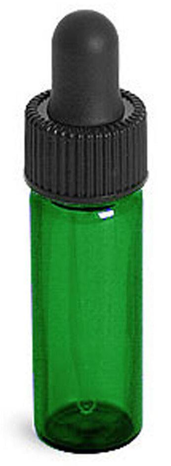 Green Glass Vials w/ Straight Black Bulb Glass Droppers