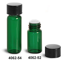 Glass Vials, Green Glass Vials w/ Black Phenolic PV Lined Caps & Orifice Reducers