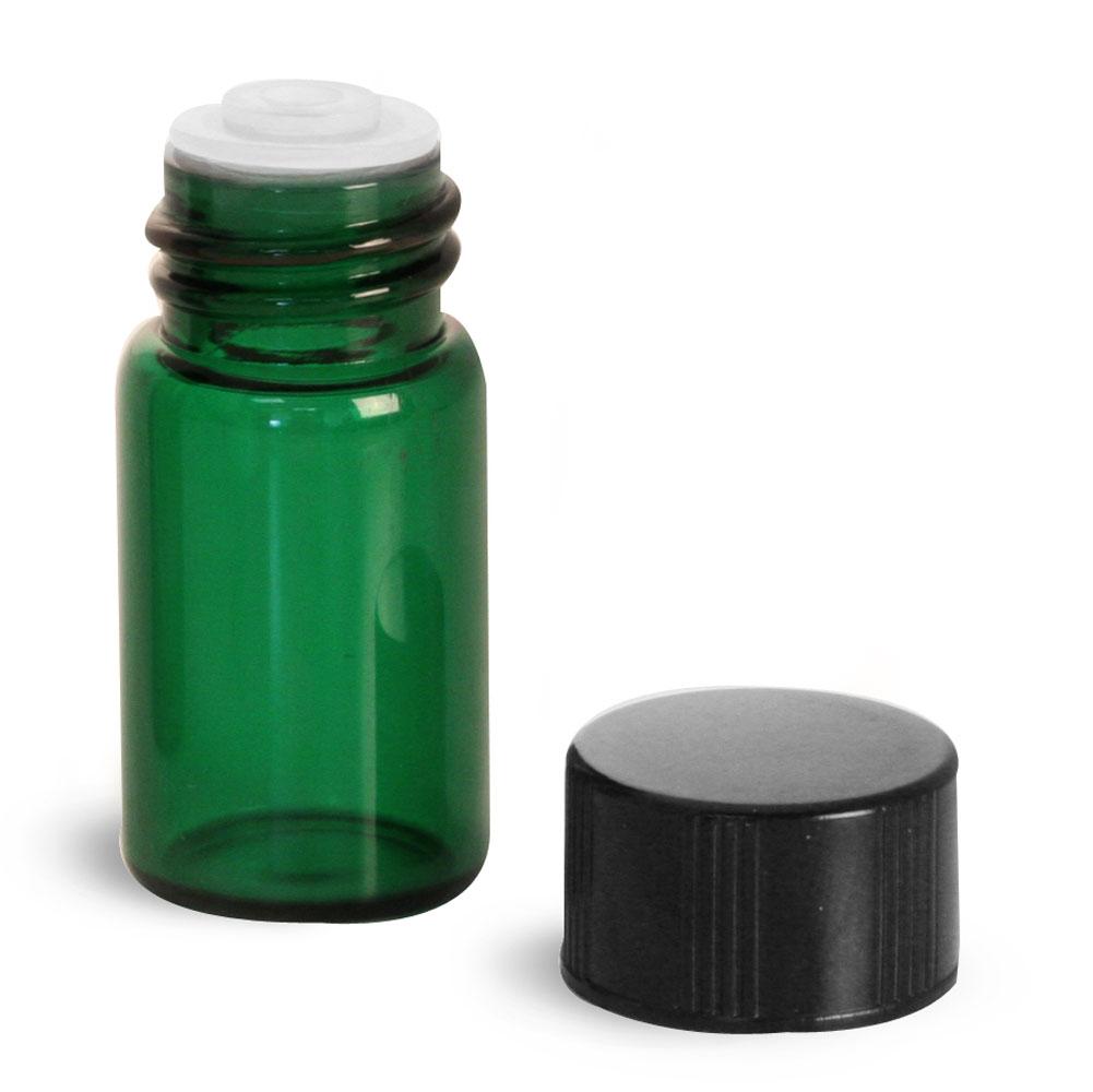 5/8 dram Green Glass Vials w/ Black Phenolic PV Lined Caps & Orifice Reducers