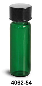 Glass Vials, Green Glass Vials w/ Black Phenolic PV Lined Caps & Orifice Reducers