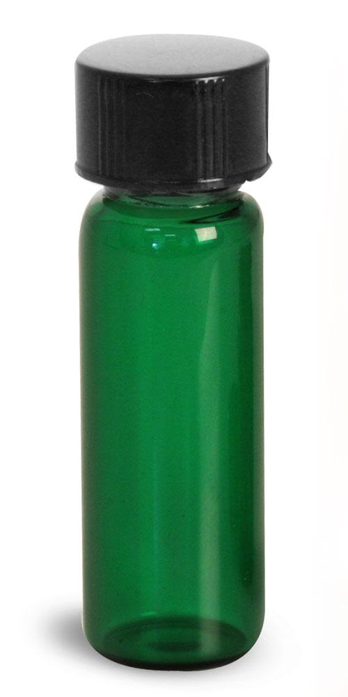 1 dram Green Glass Vials w/ Black Phenolic PV Lined Caps & Orifice Reducers
