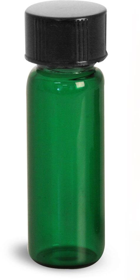 Green Glass Vials w/ Black Phenolic PV Lined Caps & Orifice Reducers