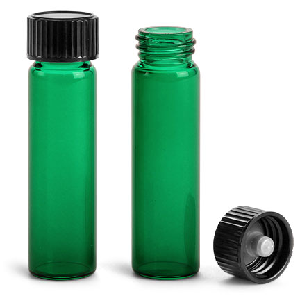 Green Sprayed Glass Vials w/ Black Phenolic Cone Lined Caps'