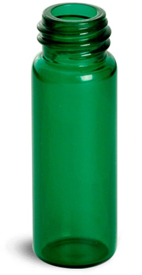 Green Glass Vials (Bulk), Caps Not included