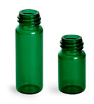 1 Dram Green Glass Vials (Bulk), Caps Not included