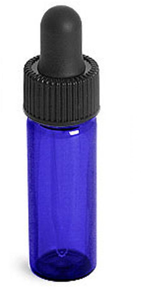 Blue Glass Vial w/ Black Bulb Dropper