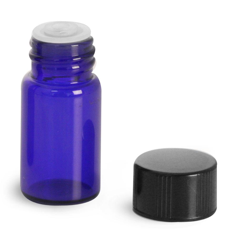 5/8 dram Blue Glass Vials w/ Black Phenolic PV Lined Caps & Orifice Reducers