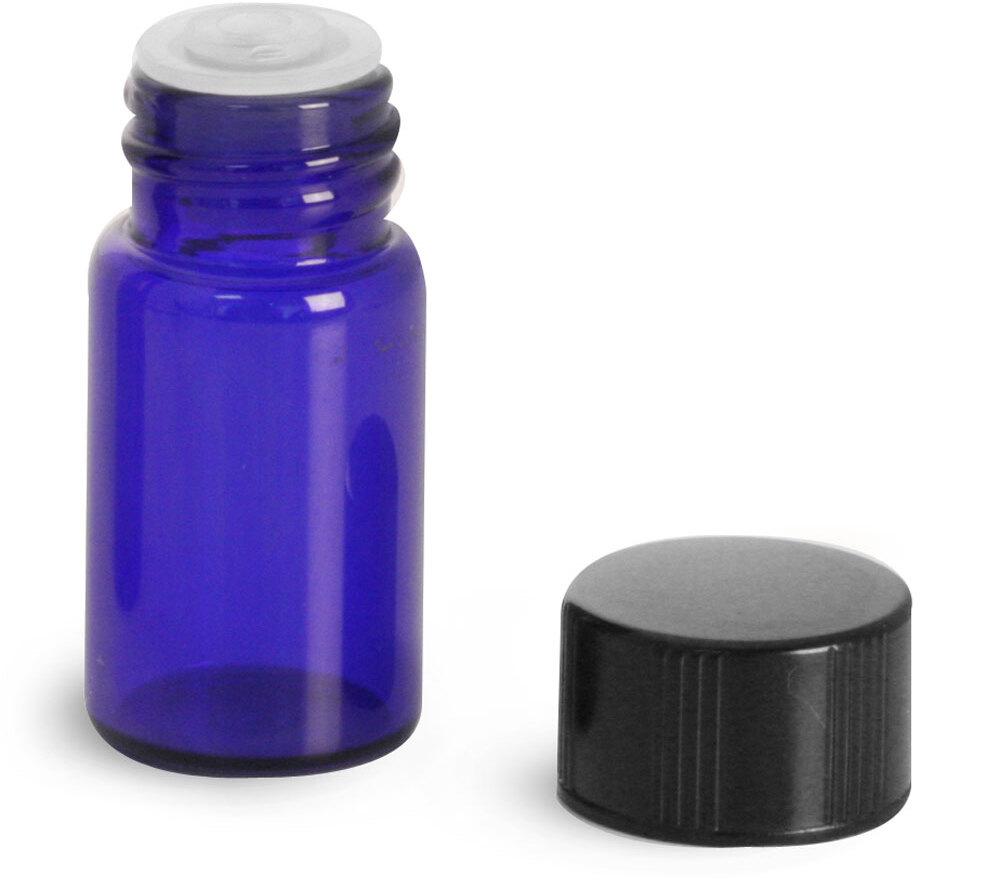 Blue Glass Vials w/ Black Phenolic PV Lined Caps & Orifice Reducers