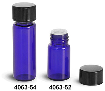 Glass Vials, Blue Glass Vials w/ Black Phenolic PV Lined Caps & Orifice Reducers