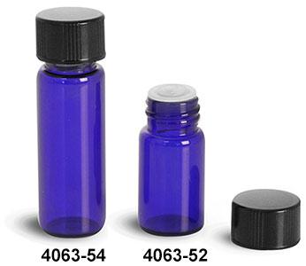 f3cddb3af4e7 SKS Bottle & Packaging - Glass Vials, Blue Glass Vials w/ Black ...