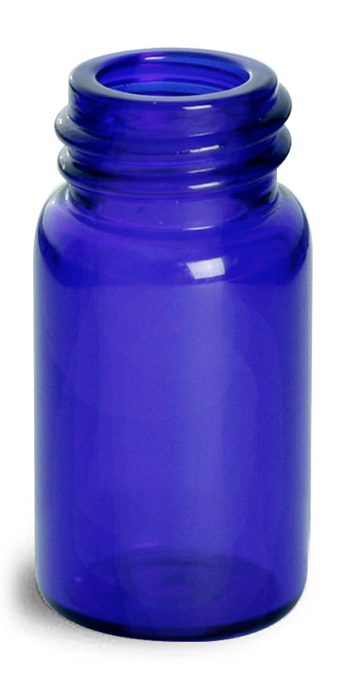 5/8 dram Blue Glass Vials (Bulk), Caps Not included