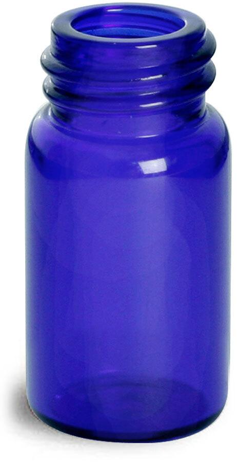 Blue Glass Vials (Bulk), Caps Not included