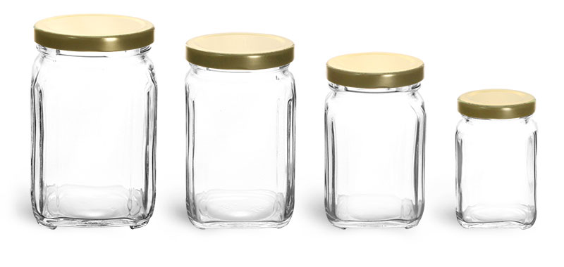 Clear Glass Square Jars w/ Gold Metal Lug Caps'