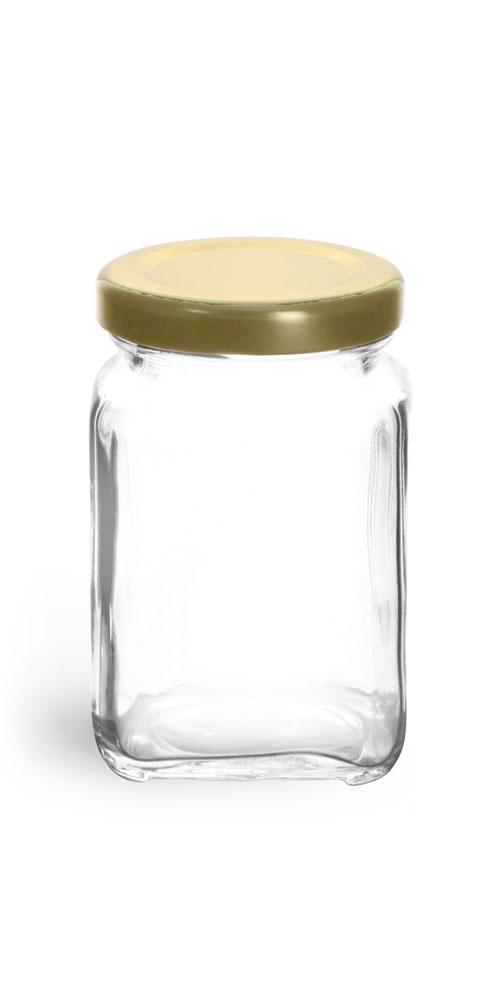 3.75 Clear Glass Square Jars w/ Gold Metal Lug Caps