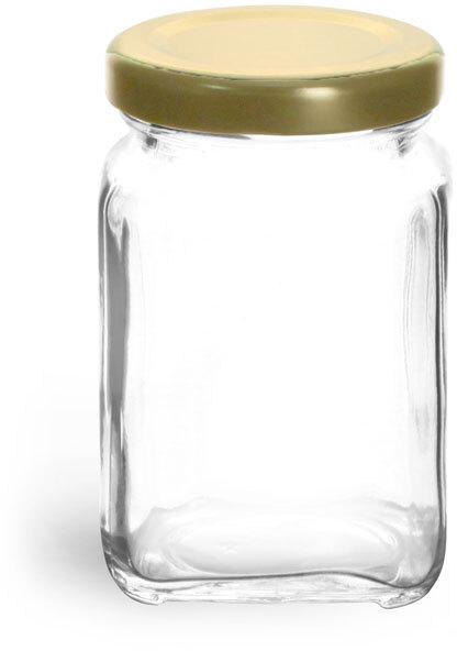 Clear Glass Square Jars w/ Gold Metal Lug Caps