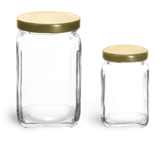 Clear Glass Jars, Glass Square Jars w/ Gold Metal Lug Caps