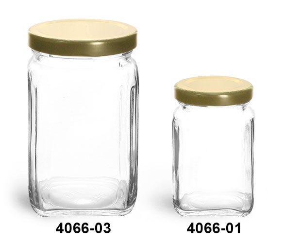 Clear Glass Jars, Clear Glass Square Jars w/ Gold Metal Lug Caps