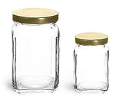 Clear Glass Jars, Glass Square Jars w/ Gold Metal Lug Caps