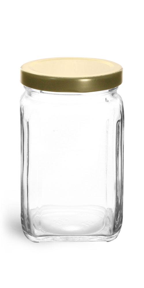 9.8 oz Clear Glass Square Jars w/ Gold Metal Lug Caps