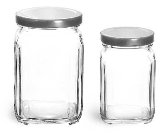Clear Glass Square Jars w/ Silver Metal Lug Caps '