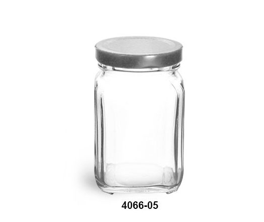 Clear Glass Jars, Clear Glass Square Jars w/ Silver Metal Lug Caps
