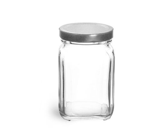 Clear Glass Jars, Glass Square Jars w/ Silver Metal Lug Caps '