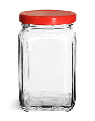 Clear Glass Jars, Glass Square Jars w/ Red Metal Plastisol Lined Lug Caps