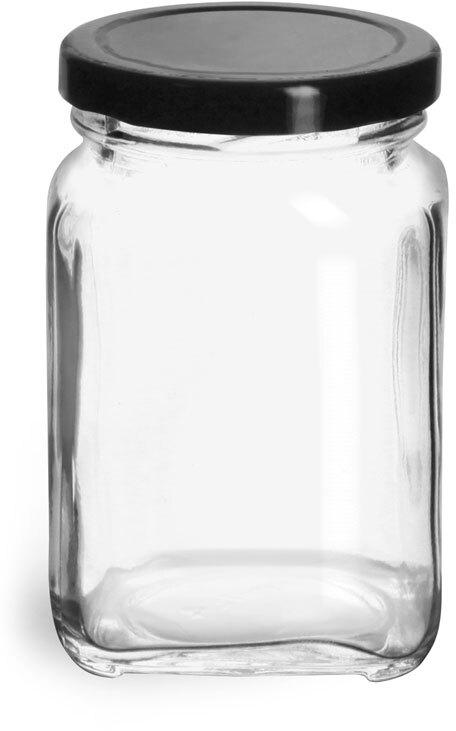 Glass Jars, Clear Glass Square Jars w/ Black Metal Lug Caps