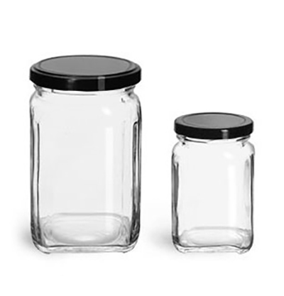 Clear Glass Jars, Glass Square Jars w/ Black Metal Lug Caps