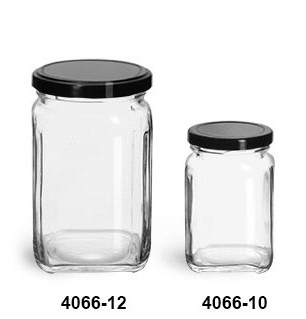 Clear Glass Jars, Clear Glass Square Jars w/ Black Metal Lug Caps