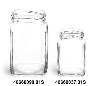 Clear Glass Square Jars (Bulk), Caps NOT Included